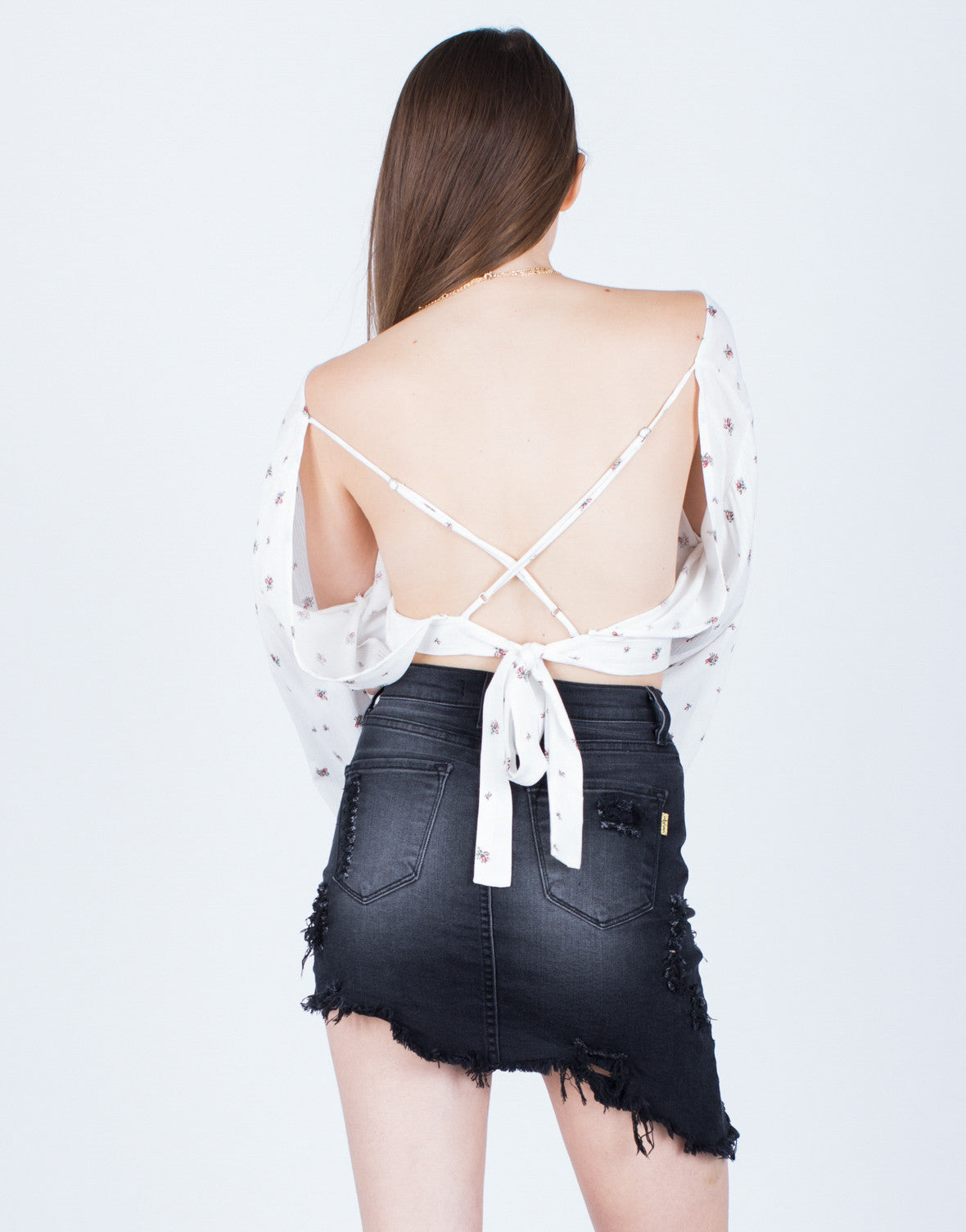 Back View of Back Tie Floral Blouse