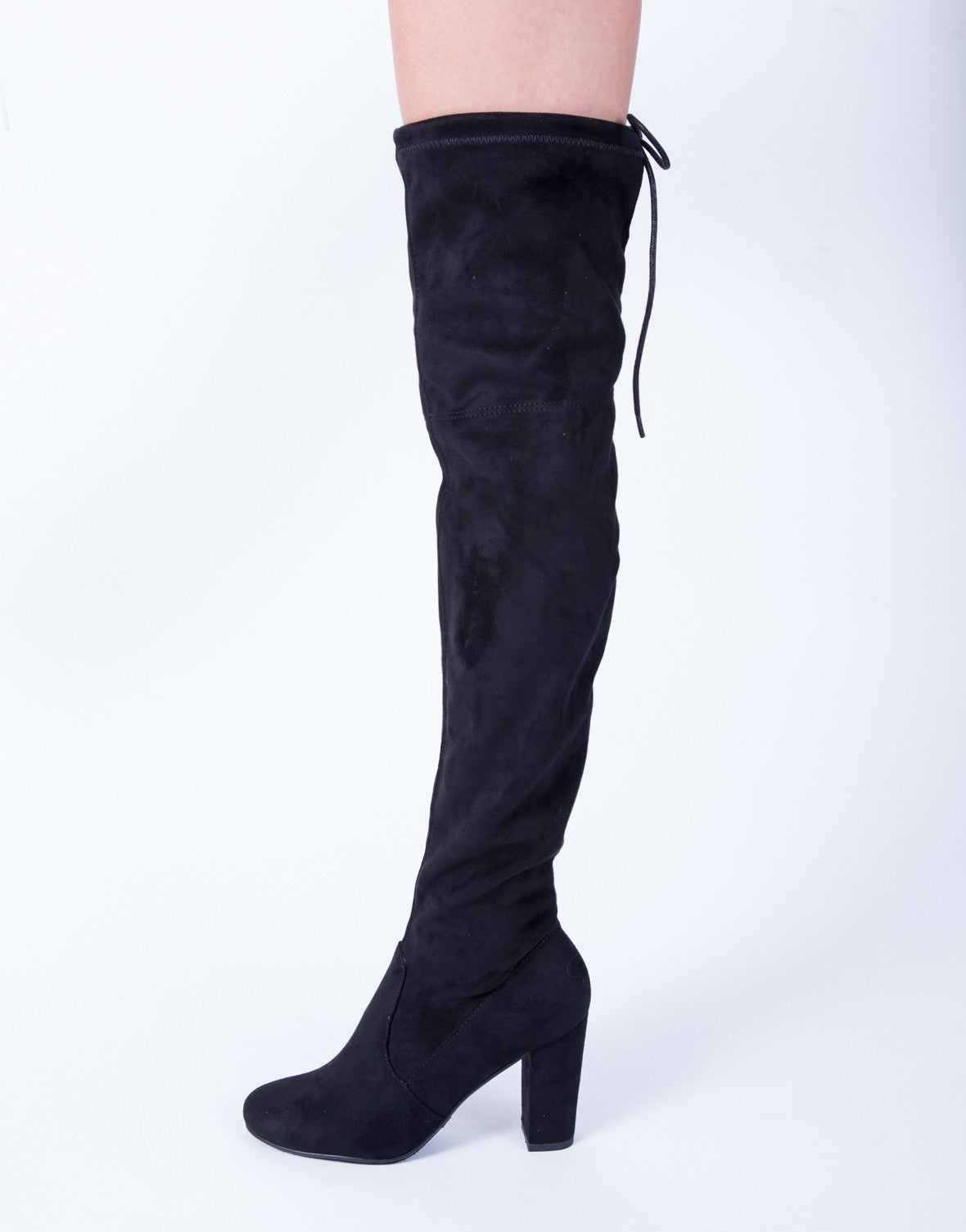 Back Tie Over-the-Knee Boots - Black