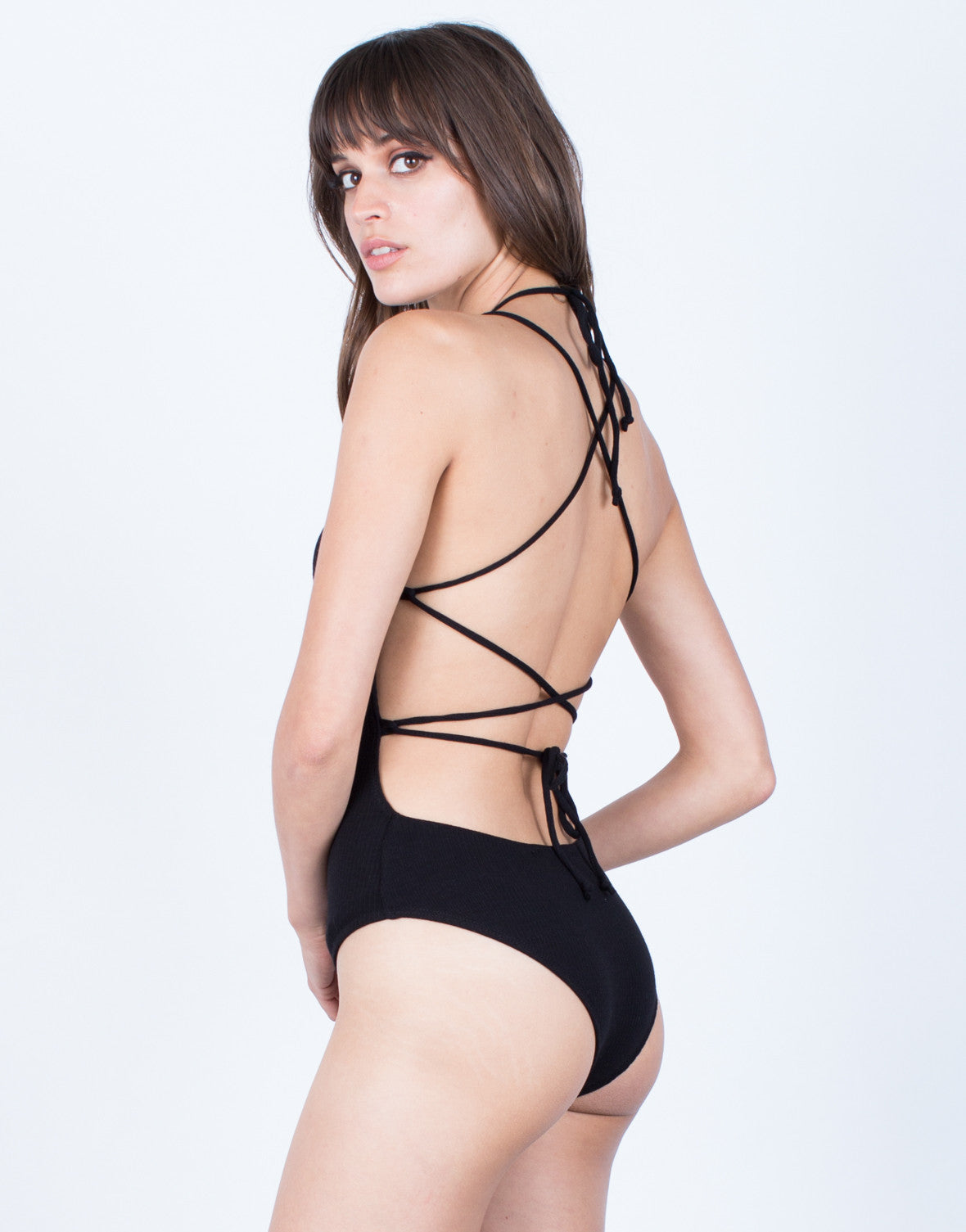 Back View of Back Tie Ribbed Bodysuit
