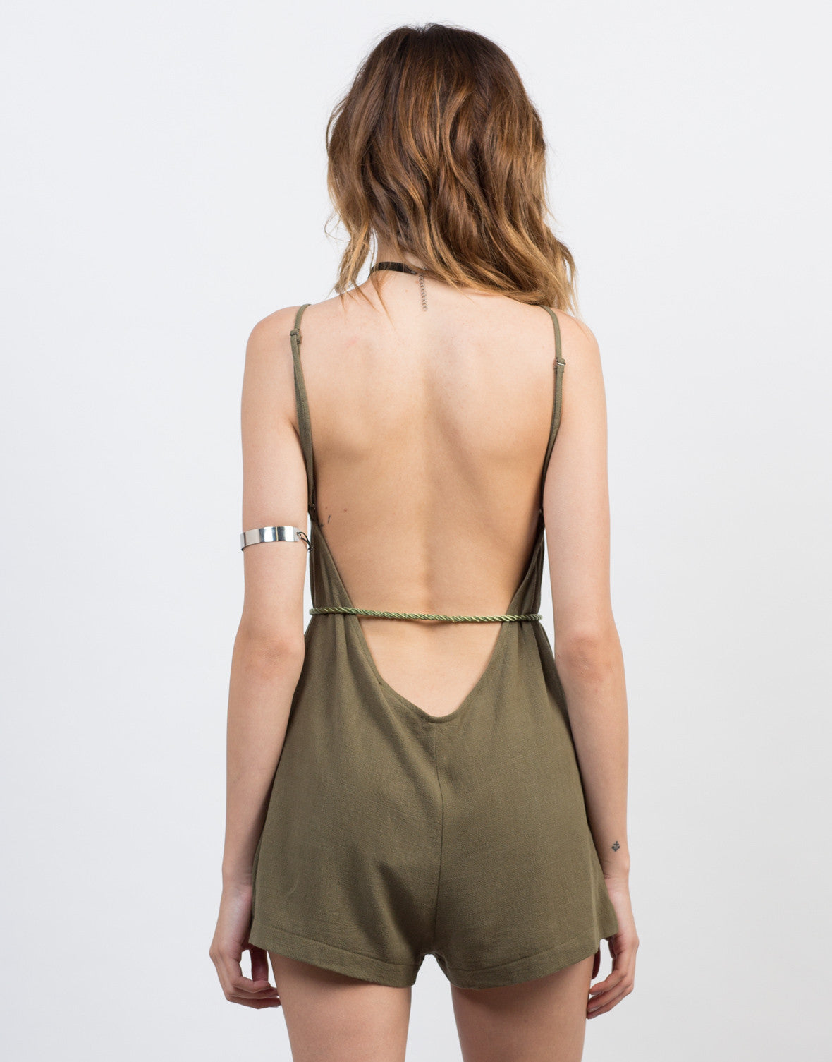 Back View of Backless Linen Waist Tie Romper
