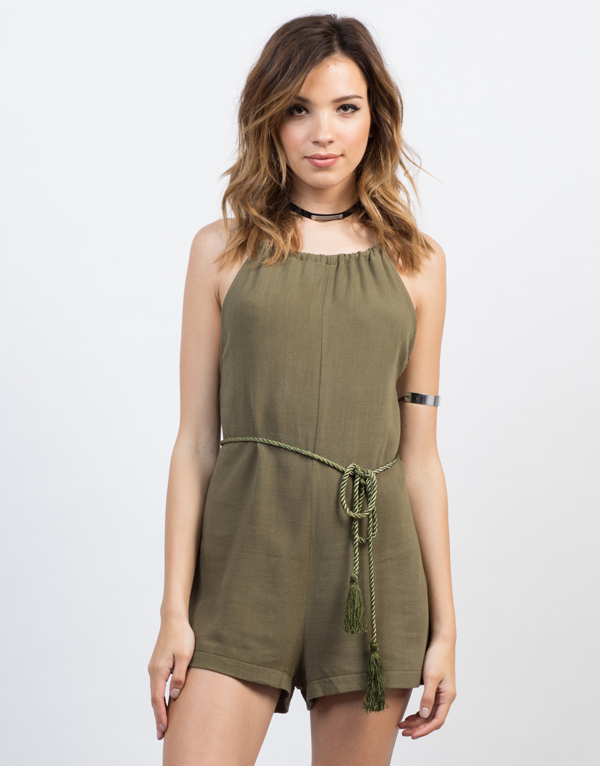 Front View of Backless Linen Waist Tie Romper