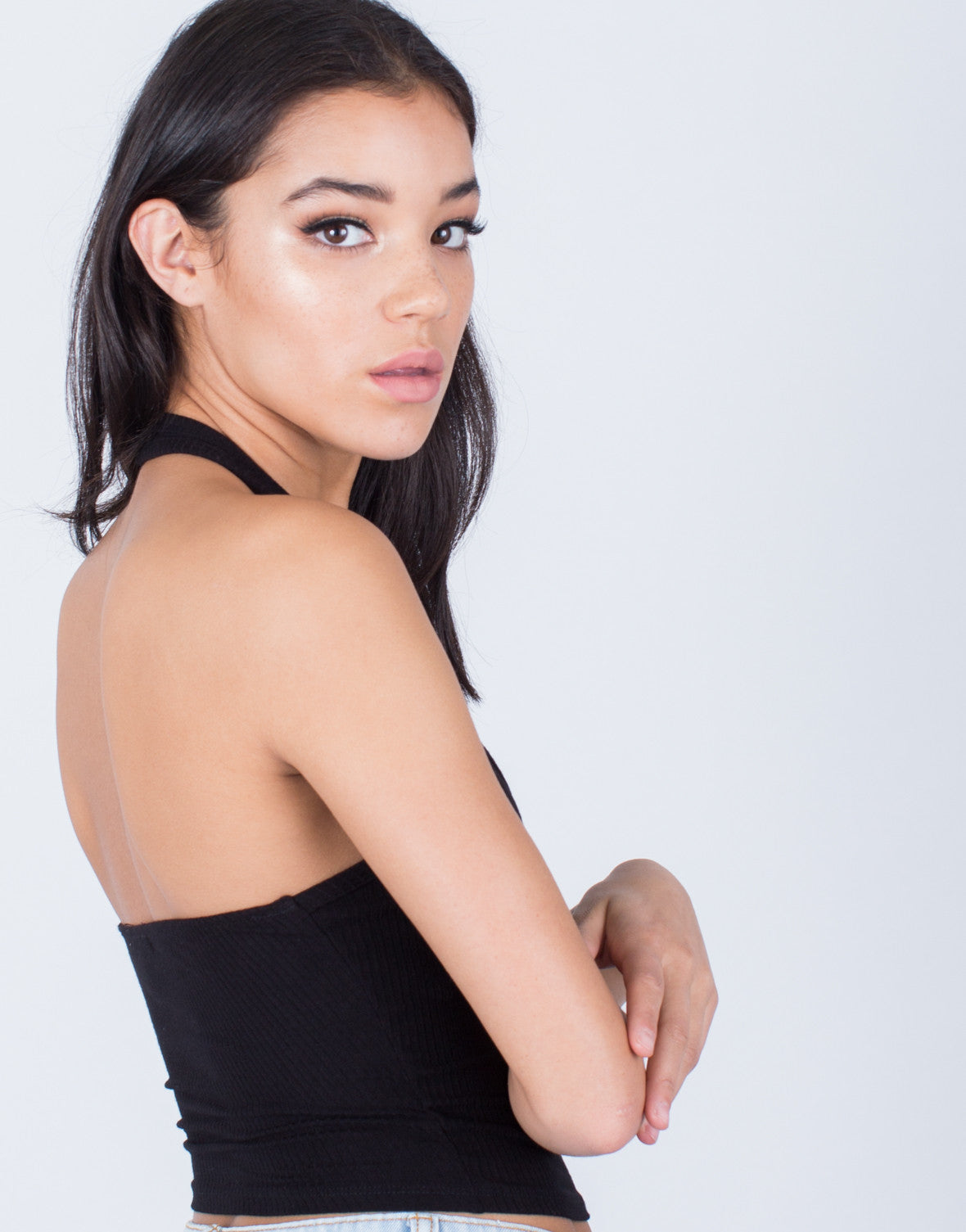 Detail of Backless Ribbed Crop Top