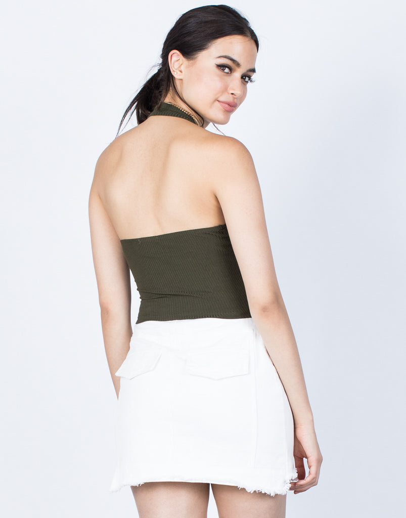 Back View of Backless Ribbed Crop Top