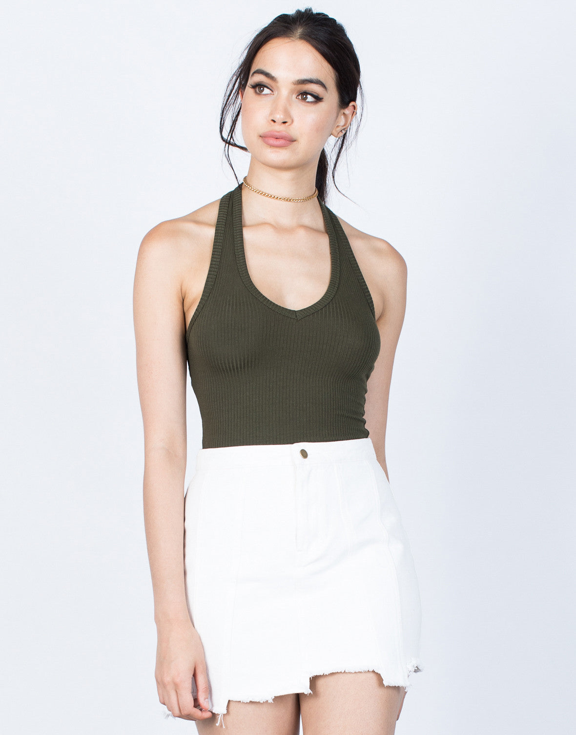 Front View of Backless Ribbed Crop Top
