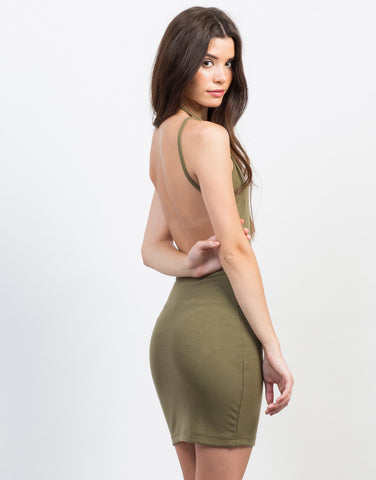 Back View of Backless Ribbed Dress