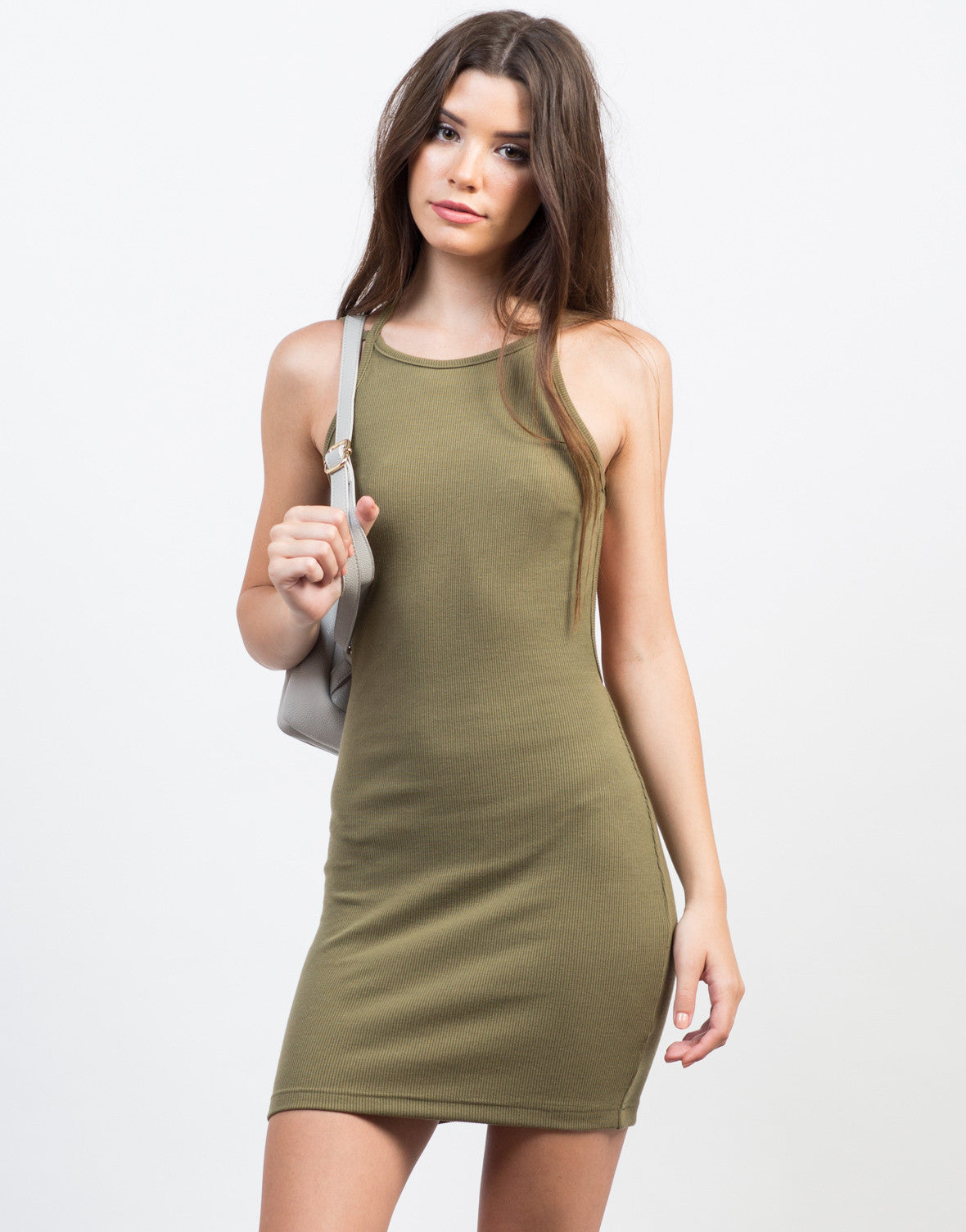 Front View of Backless Ribbed Dress