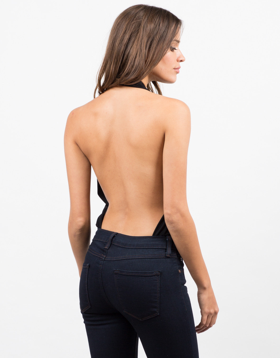 Back View of Backless Halter Bodysuit