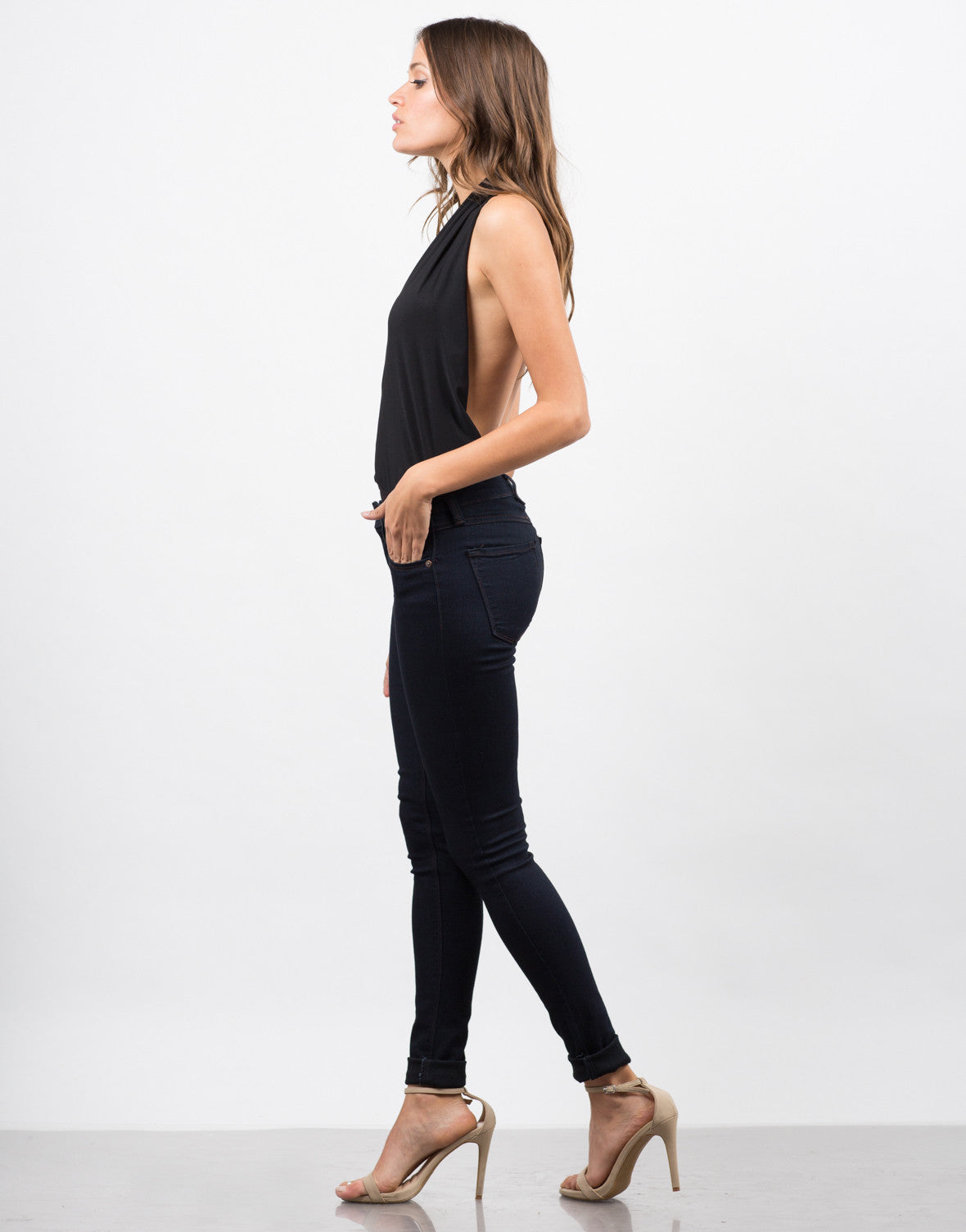 Side View of Backless Halter Bodysuit