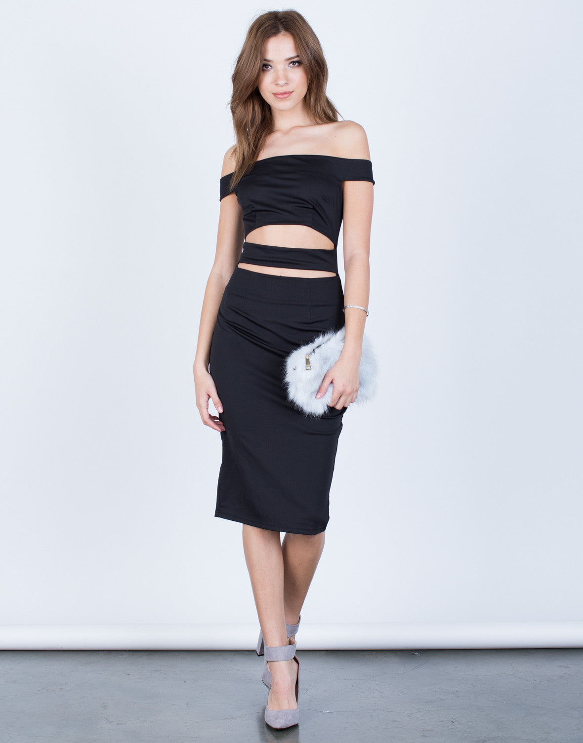 Front View of Banded Midi Party Dress