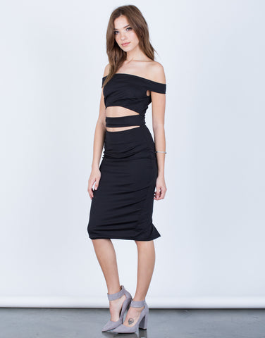Side View of Banded Midi Party Dress
