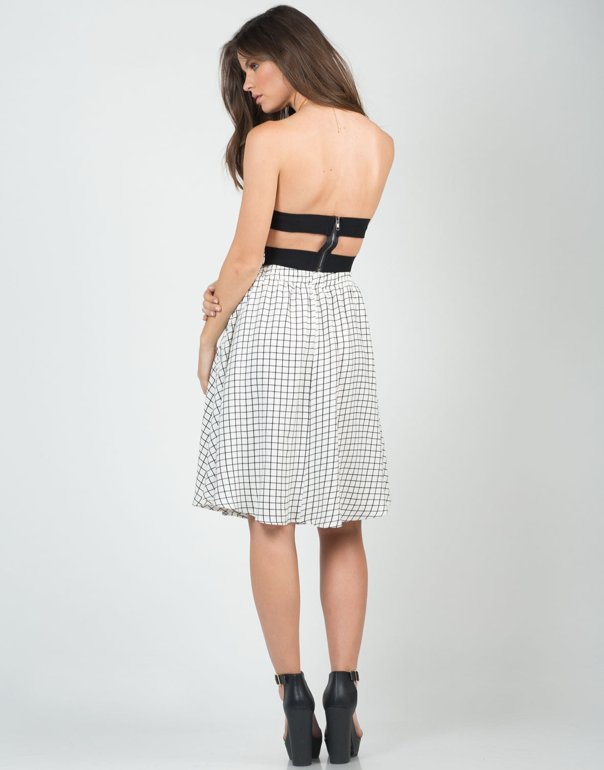 Banded Grid Cropped Top