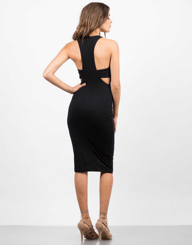 Side View of Banded Simple MIdi Dress