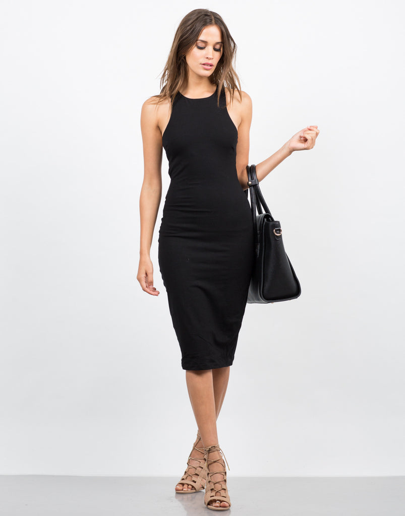 Front View of Banded Simple MIdi Dress