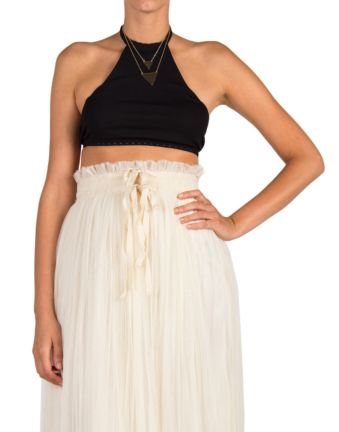 Bare Back Halter Crop Top - Black