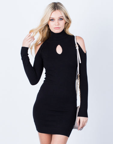Front View of Basic Cold Shoulder Dress