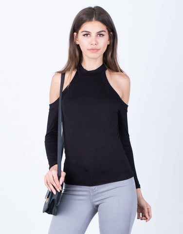 Front View of Basic Cold Shoulder Top