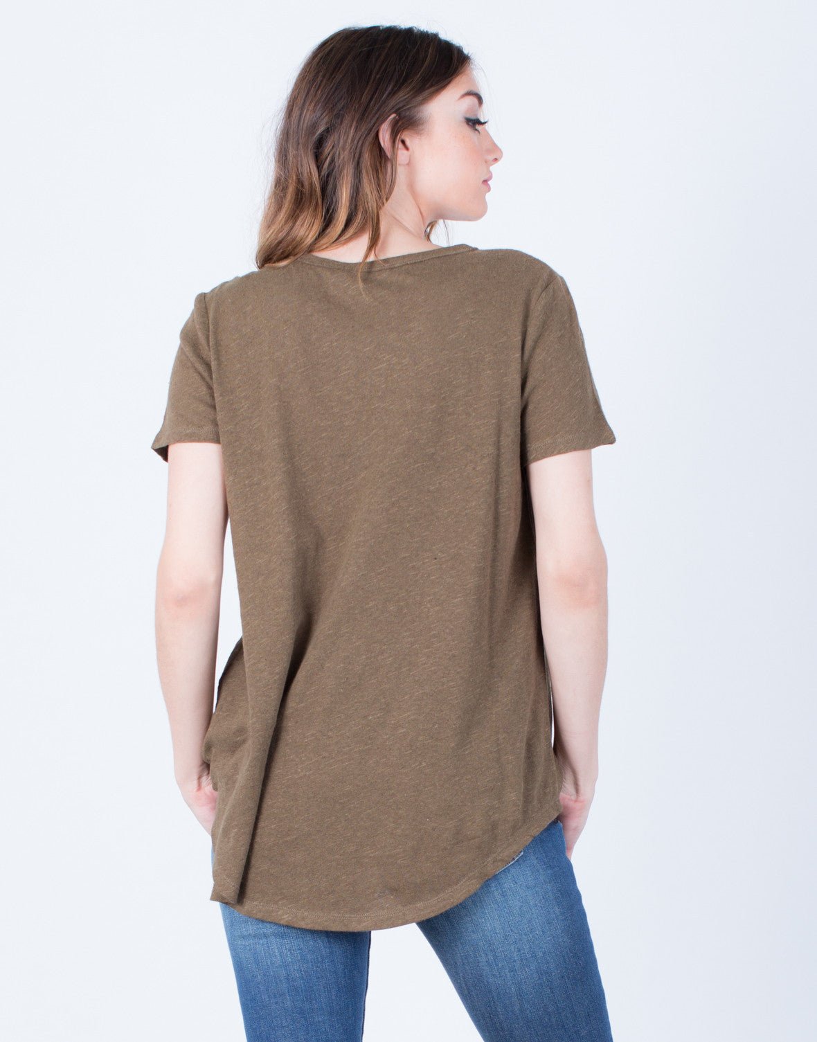 Back View of Basic Cotton Pocket Tee