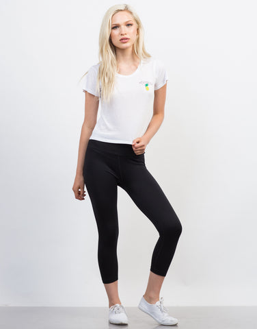 Front View of Basic Crop Active Leggings