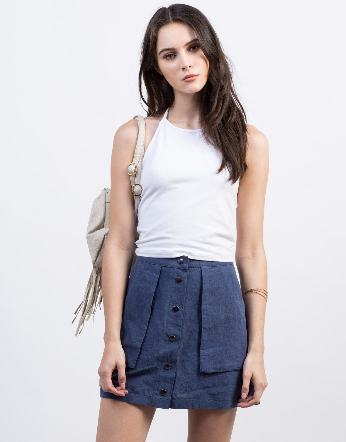 Front View of Basic Halter Crop Top