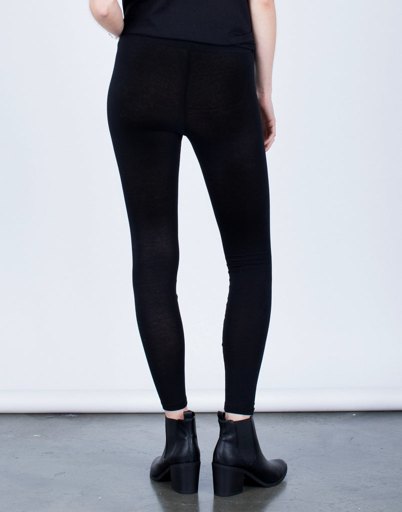 Basic Knit Leggings Bottoms -2020AVE