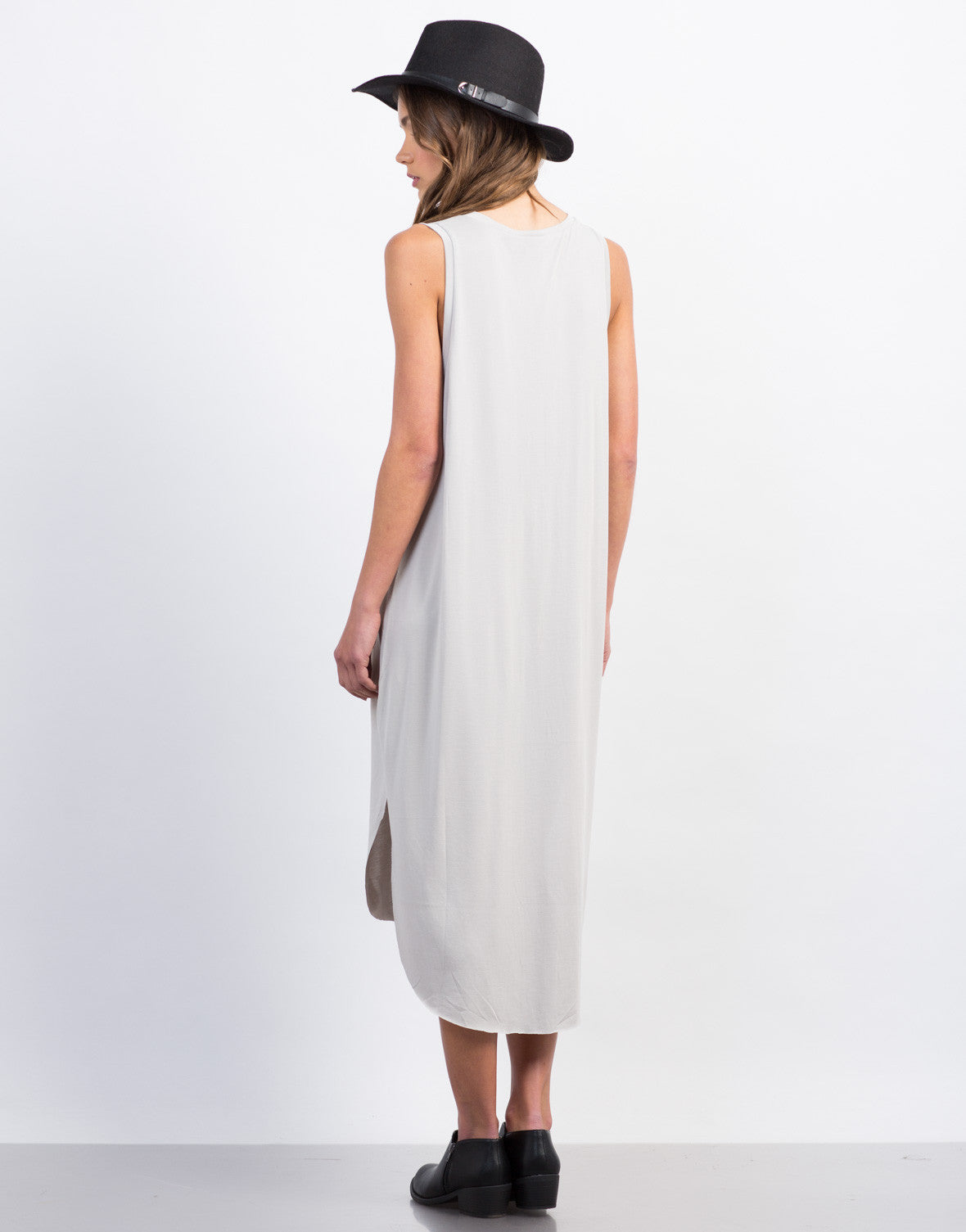 Back View of Basic Midi Tank Dress