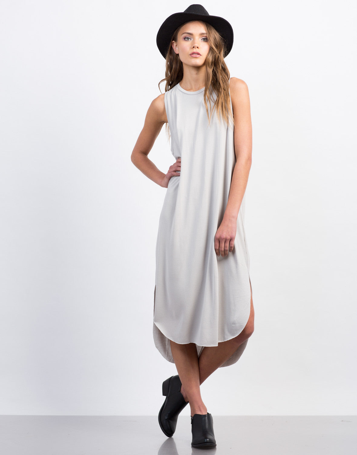 Front View of Basic Midi Tank Dress