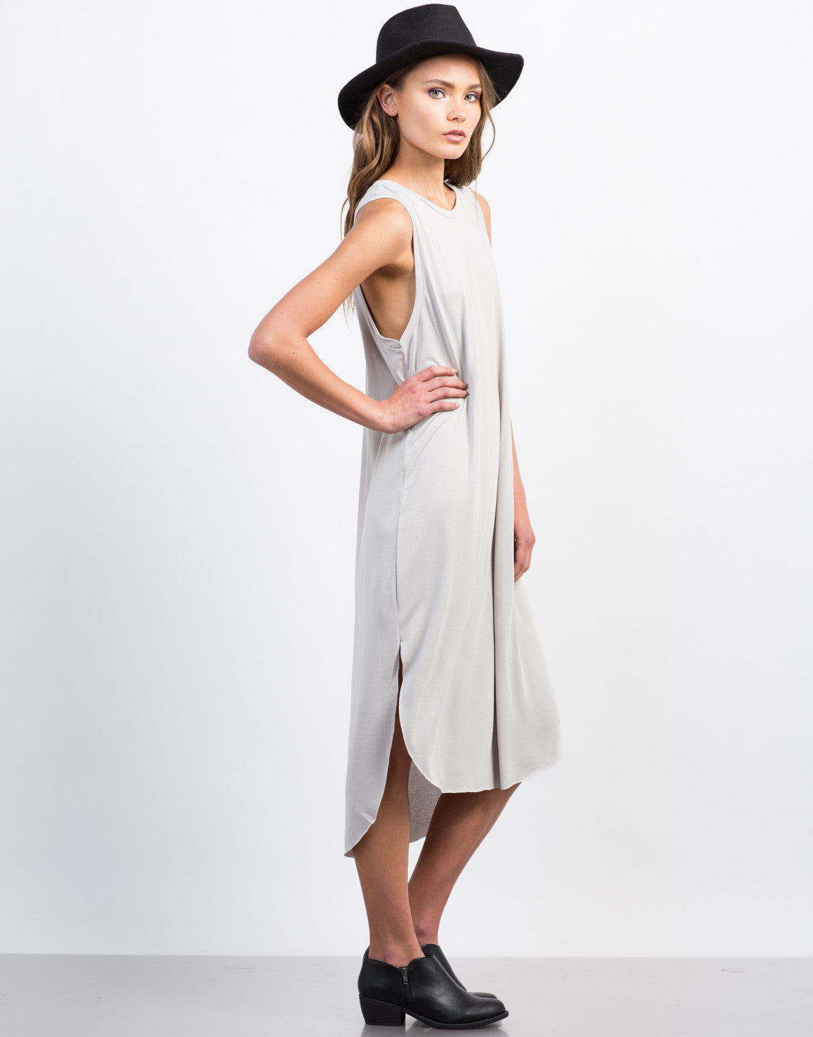 Side View of Basic Midi Tank Dress