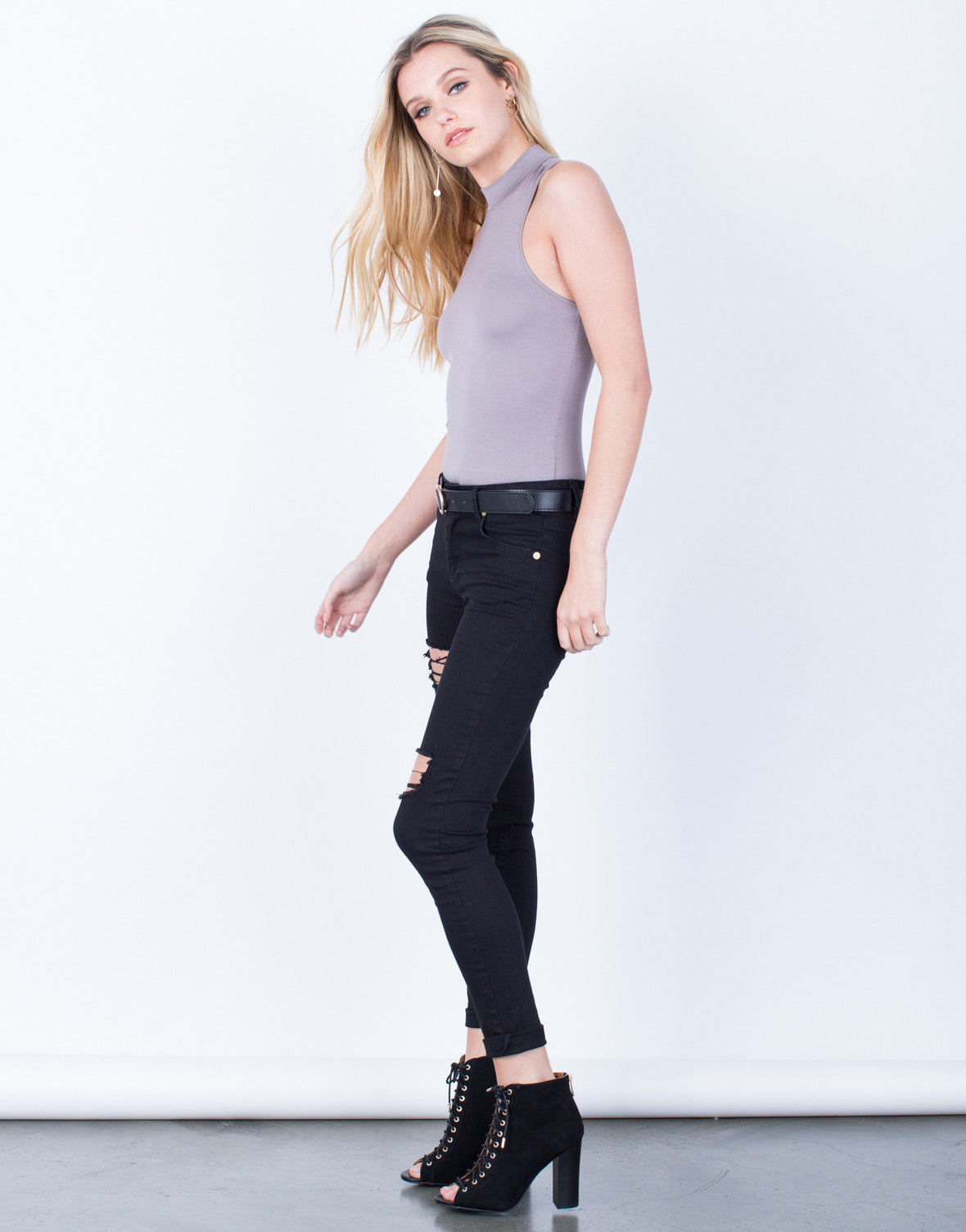 Side View of Basic Mock Neck Bodysuit