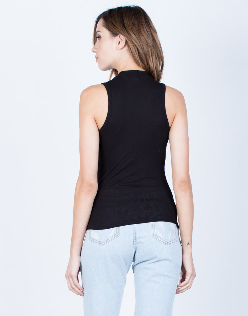 Back View of Basic Mock Neck Tank