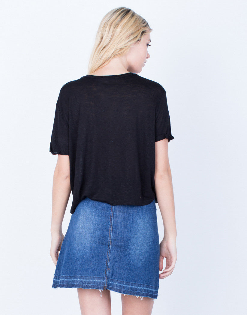 Back View of Basic Pocket Tee