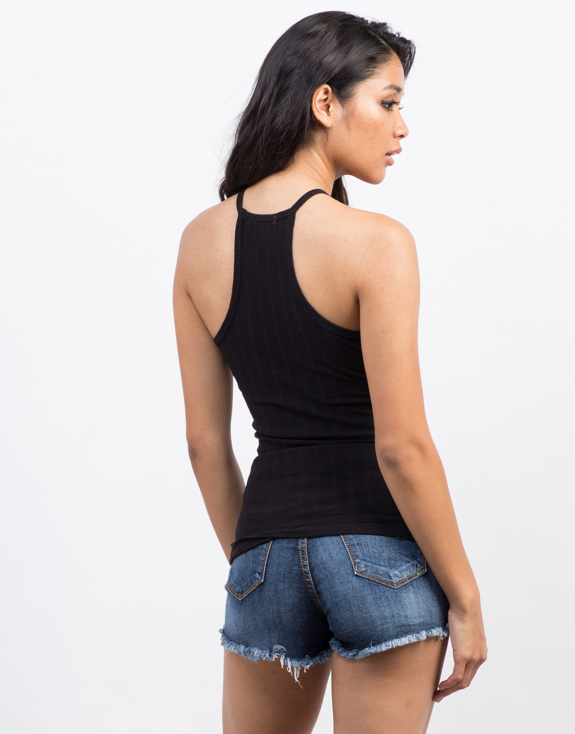 Back View of Basic Ribbed Mock Neck Tank