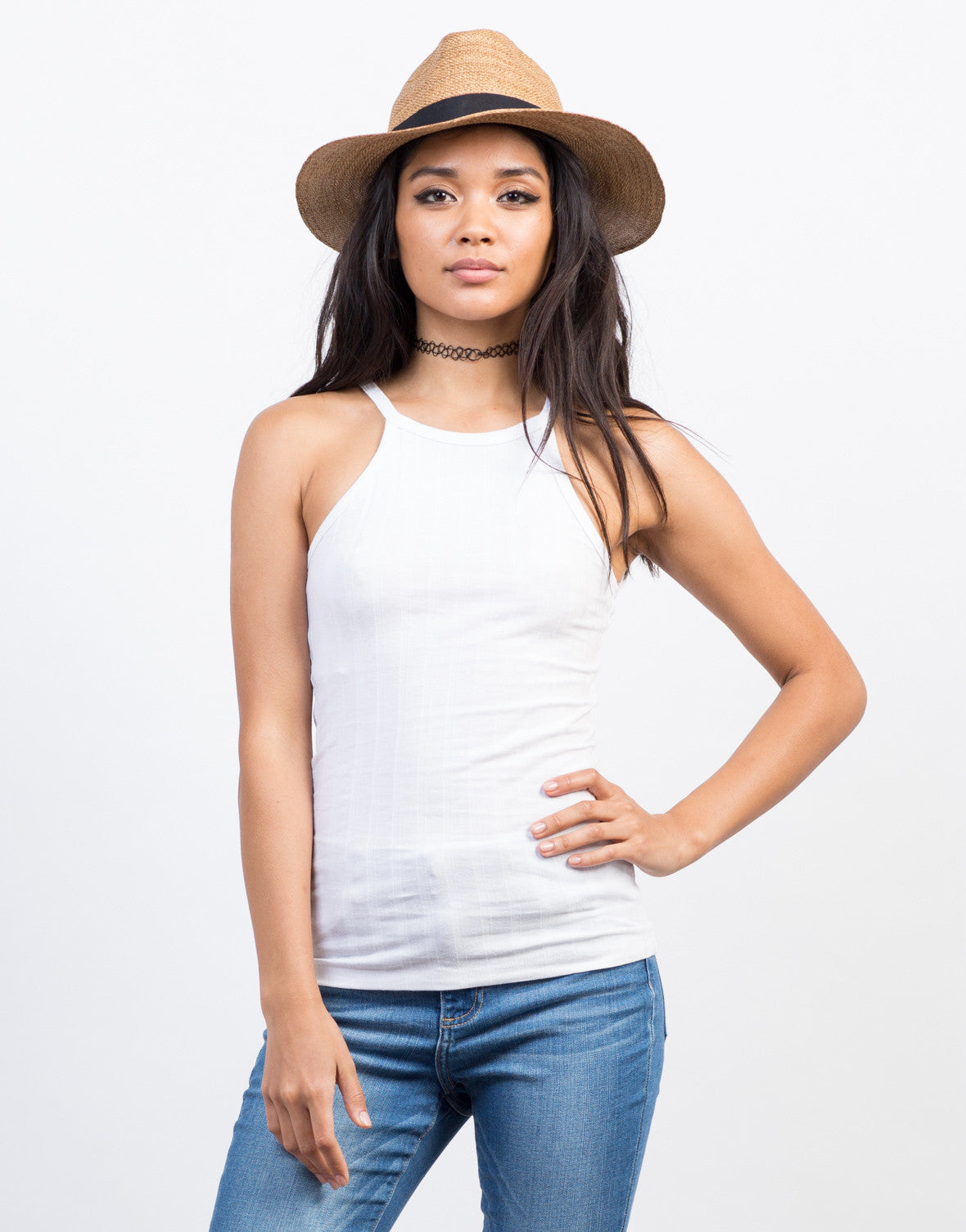 Front View of Basic Ribbed Mock Neck Tank