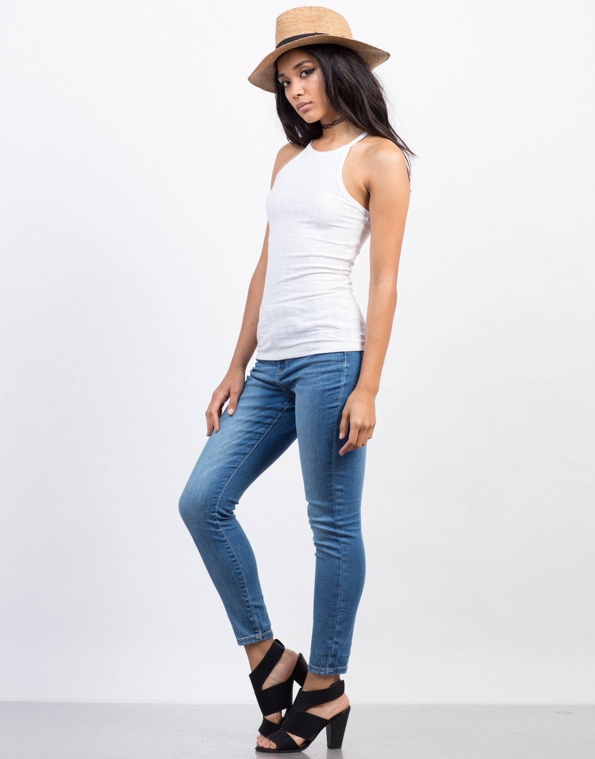Side View of Basic Ribbed Mock Neck Tank