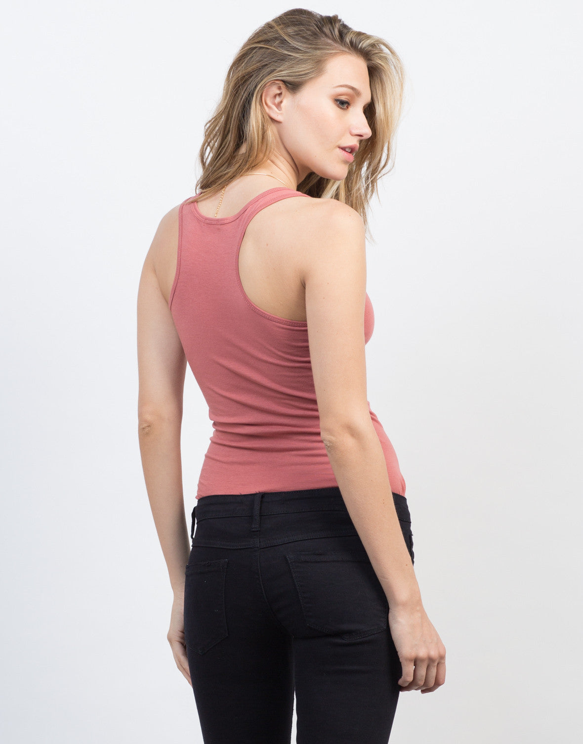 Back View of Basic Round Neck Tank Top