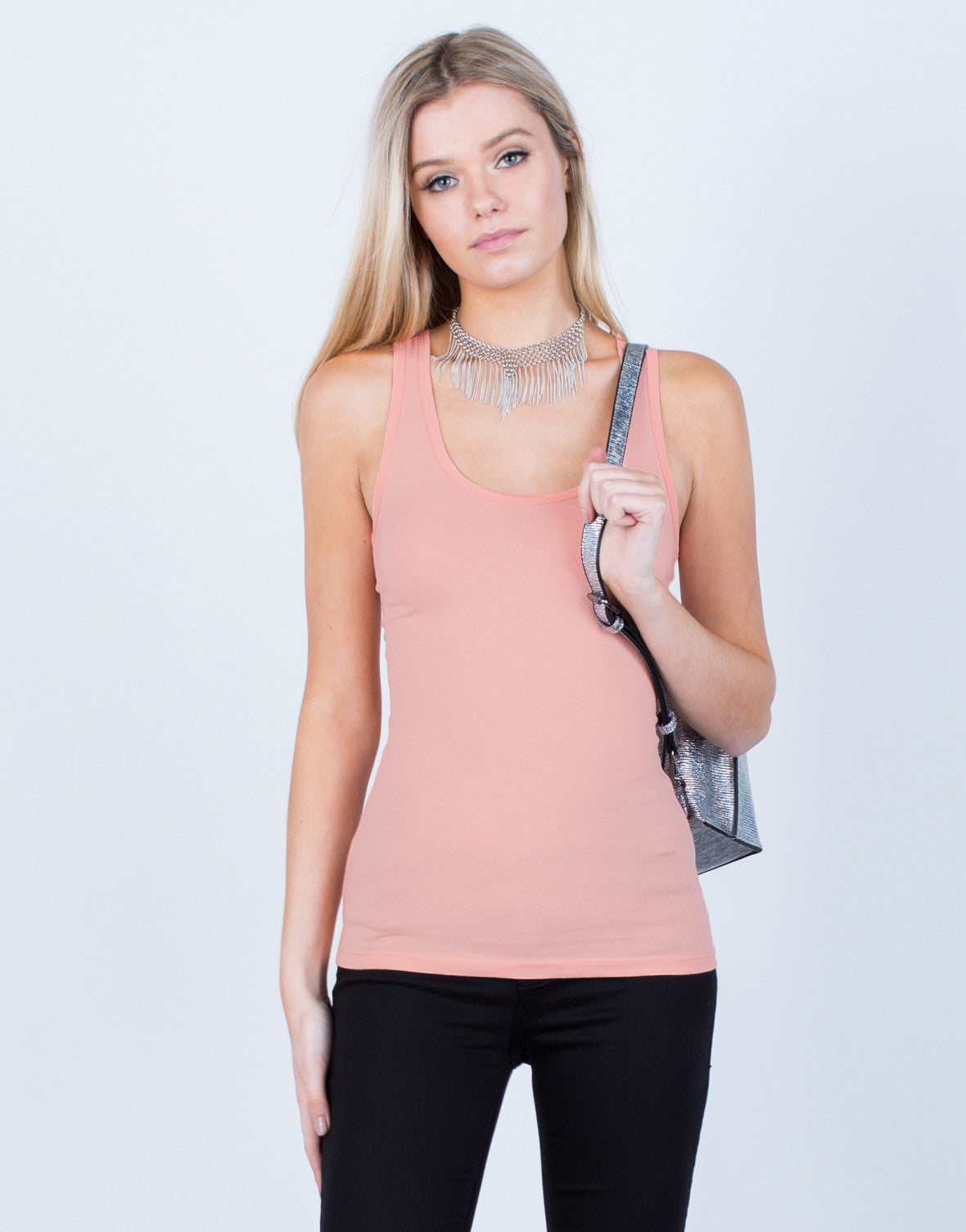 Front View of Basic Round Neck Tank Top