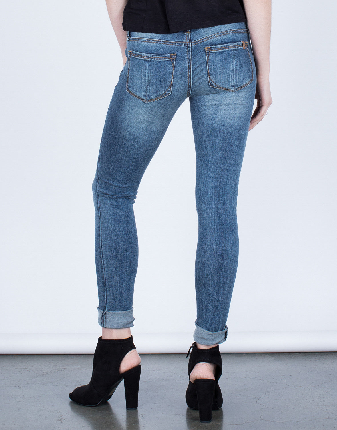 Back View of Basic Skinny Jeans