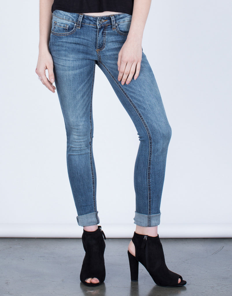 Front View of Basic Skinny Jeans