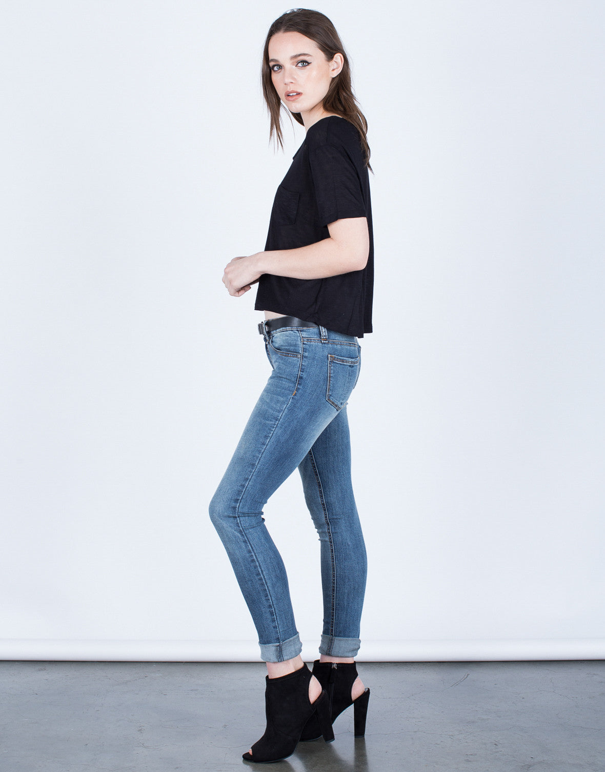 Side View of Basic Skinny Jeans
