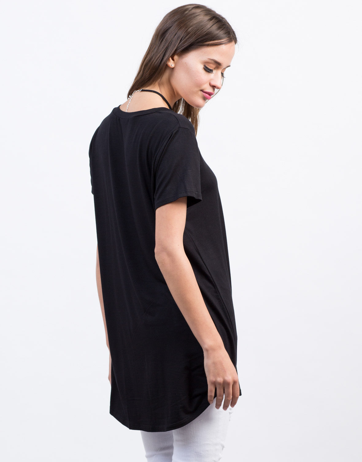 Back View of Basic T-Shirt Tunic Top