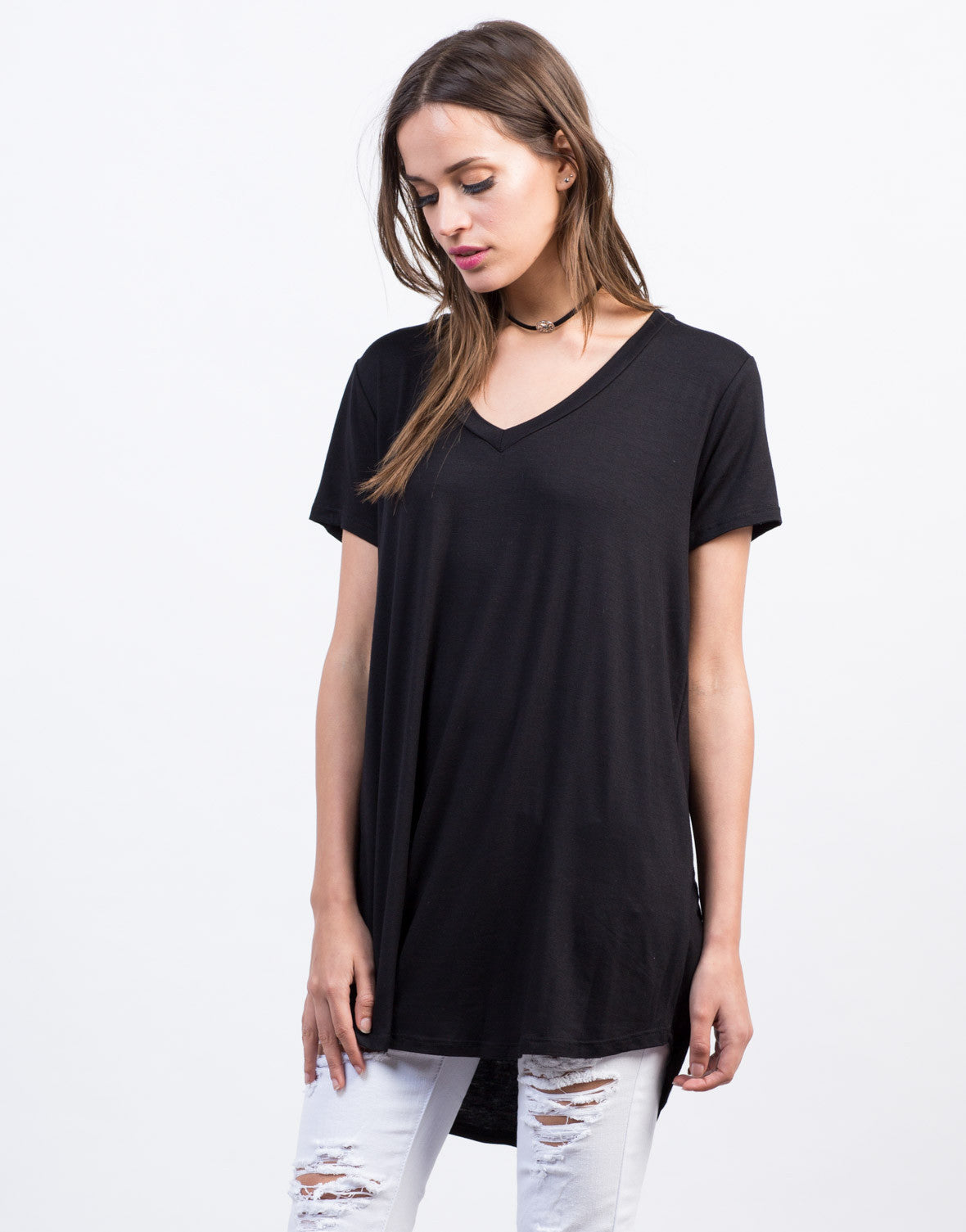b042df811 Basic T-Shirt Tunic Top - Short Sleeve Top - Flowy T-Shirt – 2020AVE