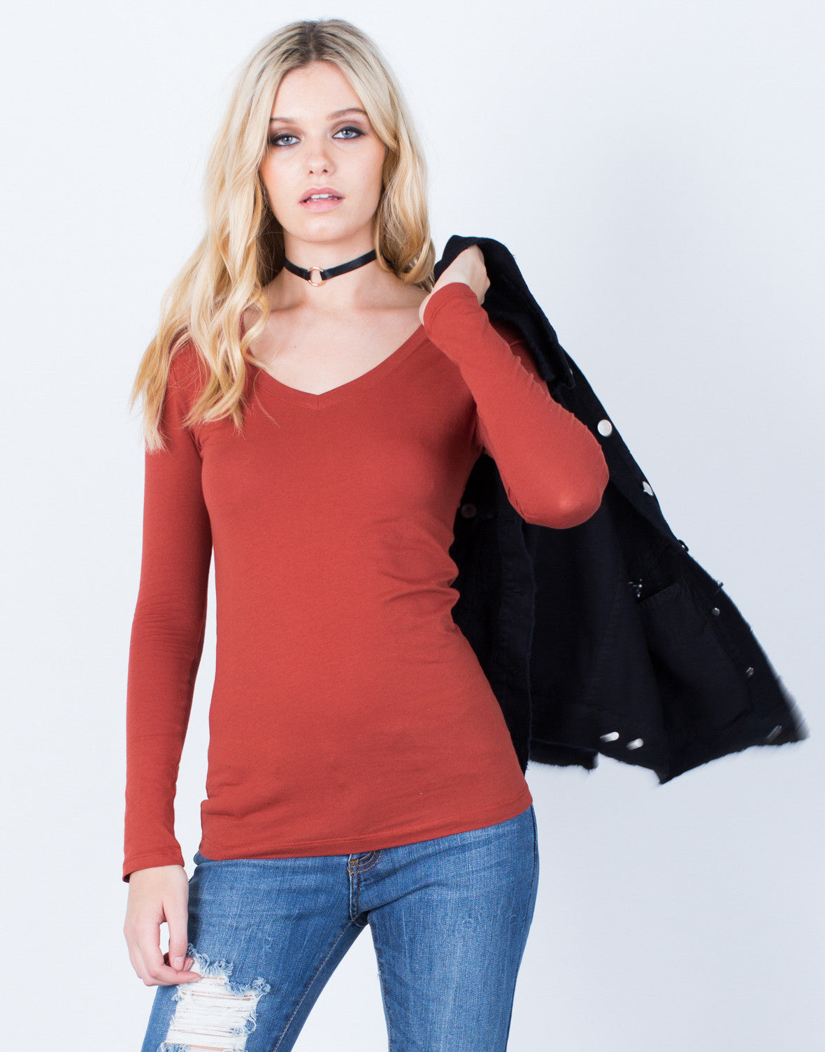 Front View of Basic V-Neck Top