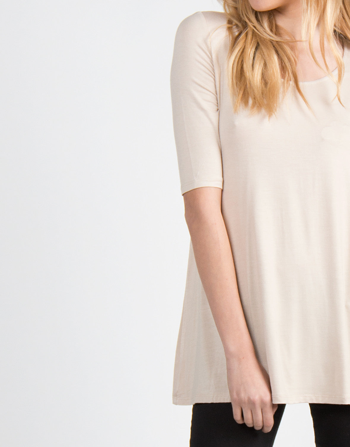 Basic 3/4 Sleeve Tunic Top - Taupe