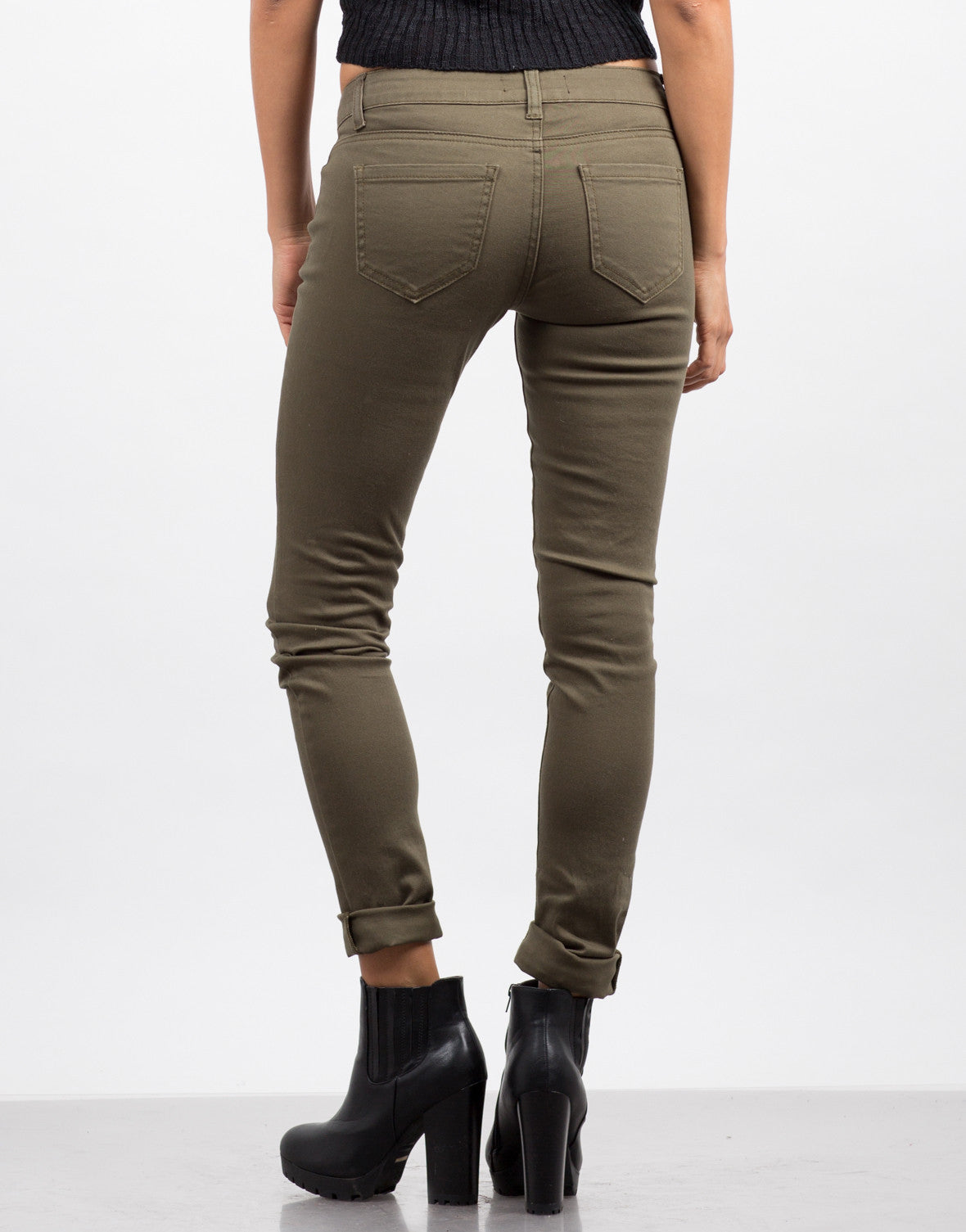 Back  View of Basic 5 Pocket Skinny Jeans - Olive