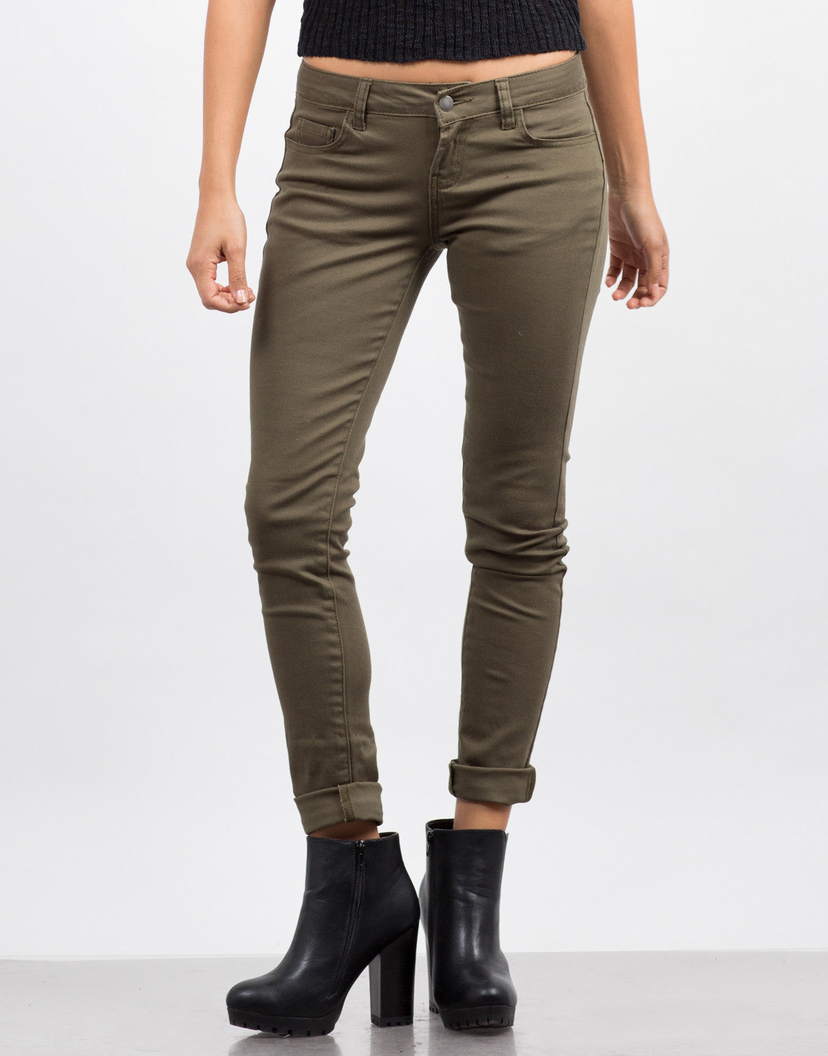 Front View of Basic 5 Pocket Skinny Jeans - Olive