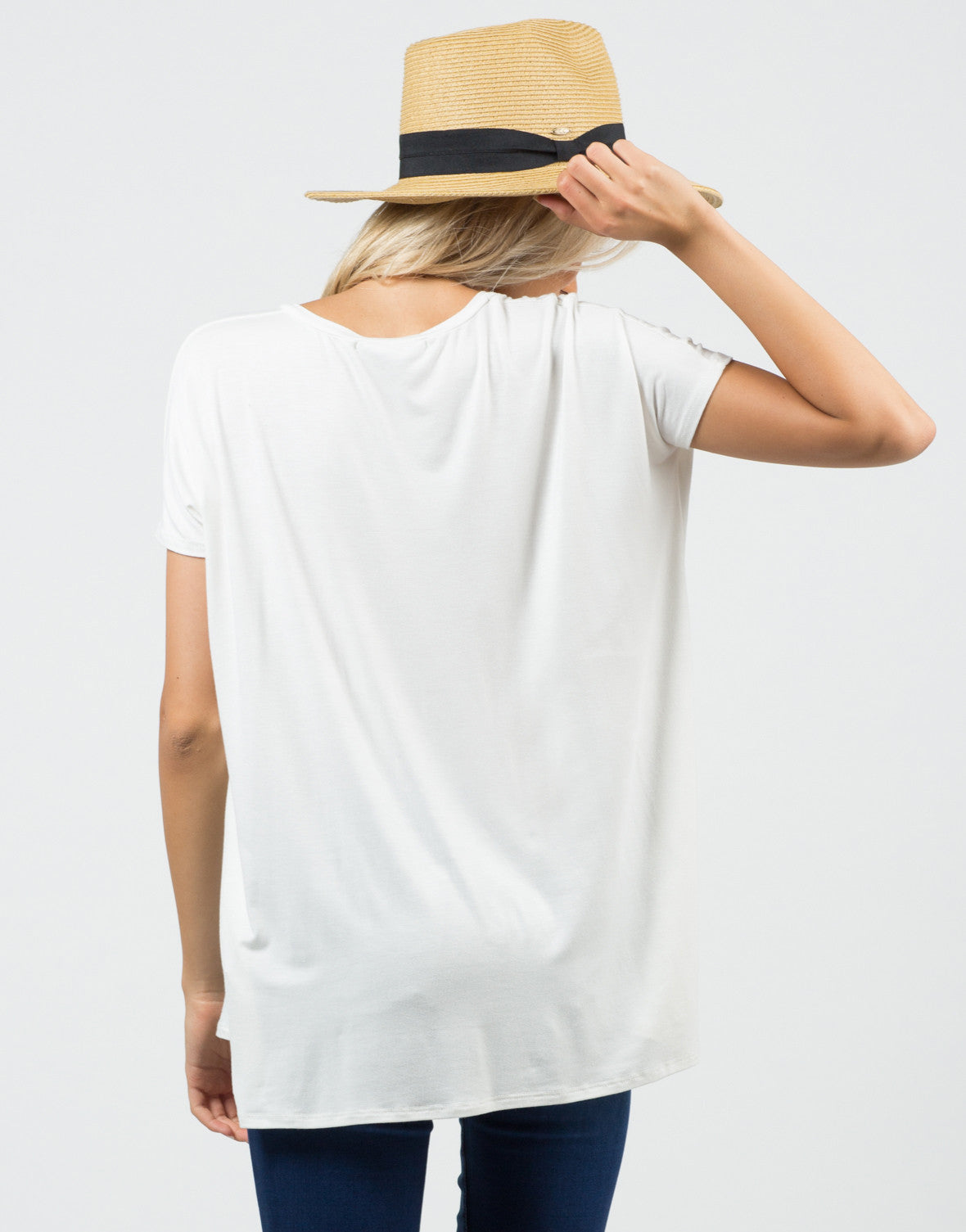 Back View of Basic Boyfriend Tee
