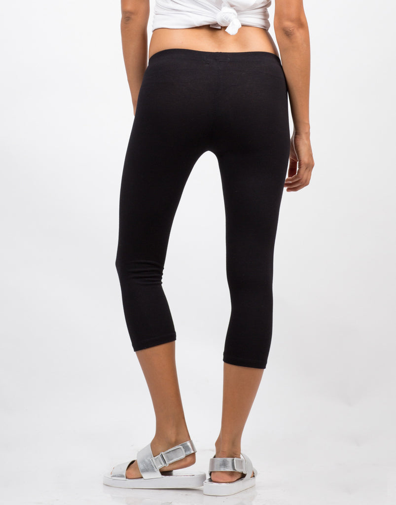 Back View of Basic Crop Leggings