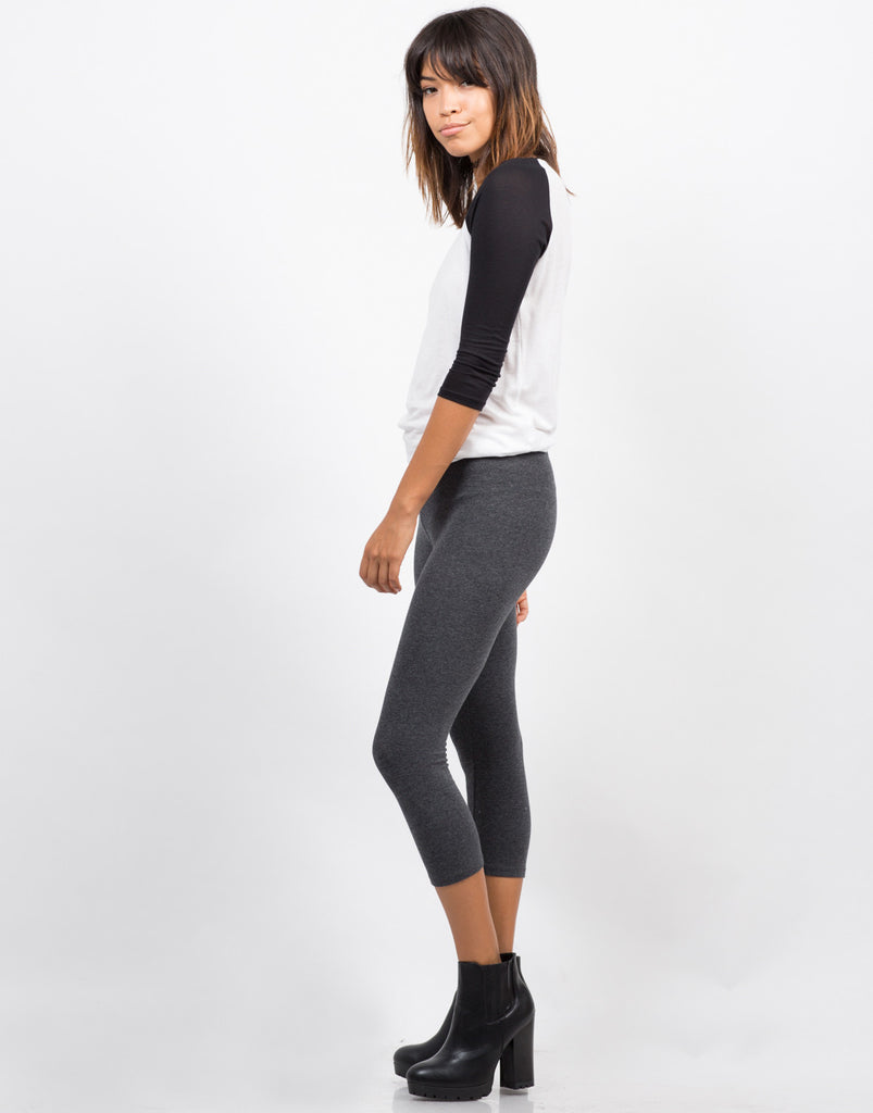 Side View of Basic Crop Leggings