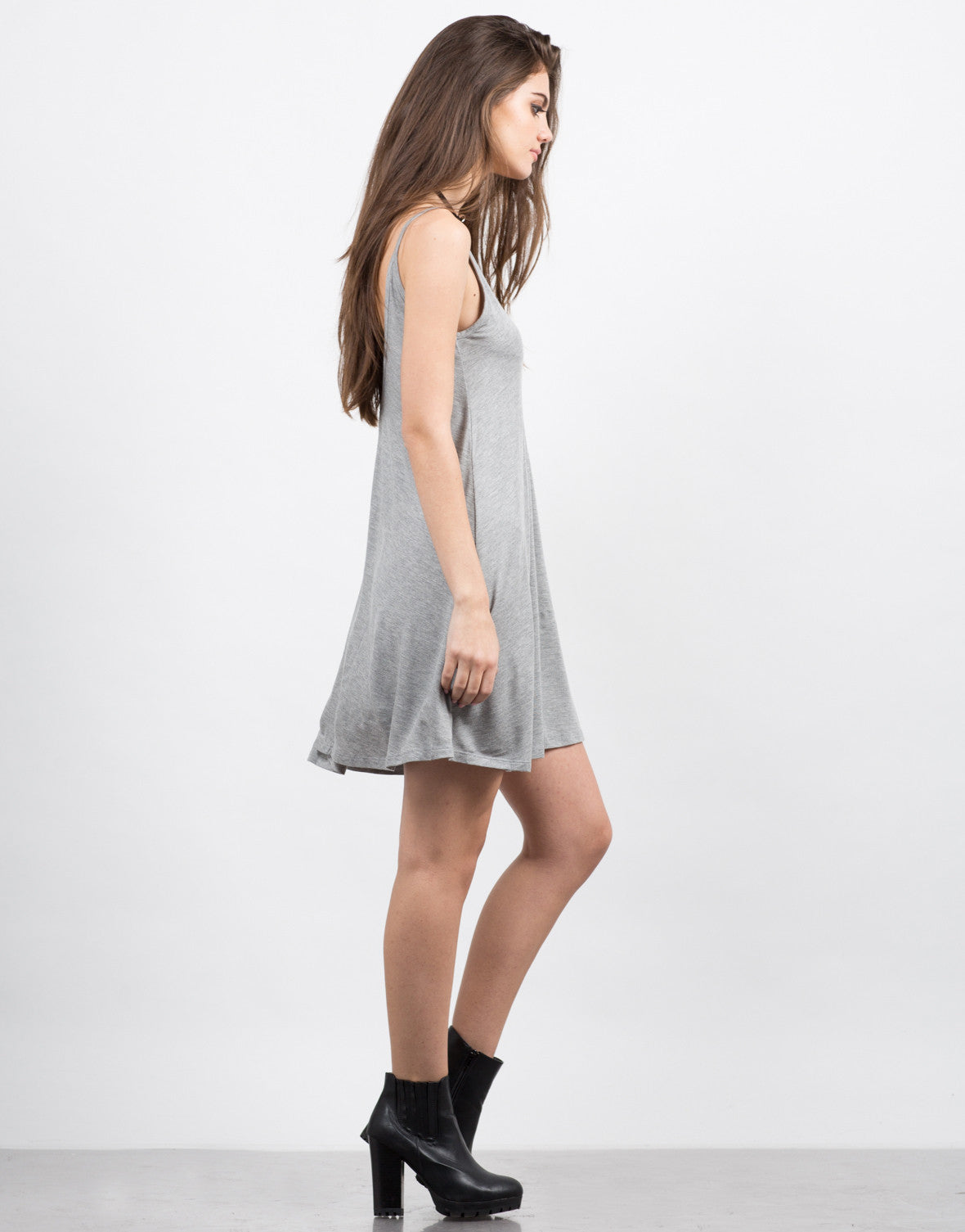 Side View of Basic Jersey Dress
