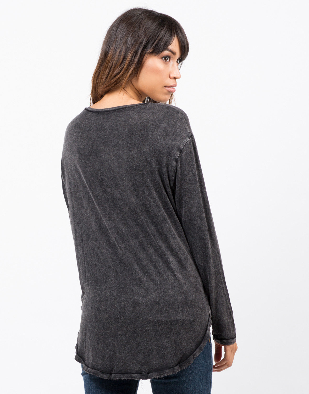 Back view of Basic Long Sleeve Pocket Top
