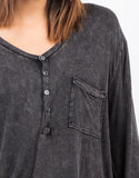 Detail View of Basic Long Sleeve Pocket Top